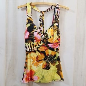 Cache Green Pink Floral Halter Top Size Small